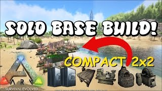 VERY COMPACT 2x2! | Solo PvP Base w/ 2 Vaults + Turrets | Ark: Survival Evolved Base Build