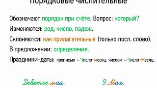 Порядковые числительные (6 класс, видеоурок-презентация)