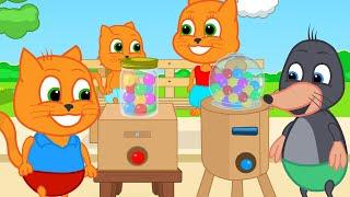 Cats Family in English - Homemade Cardboard Gumball Machine Cartoon for Kids