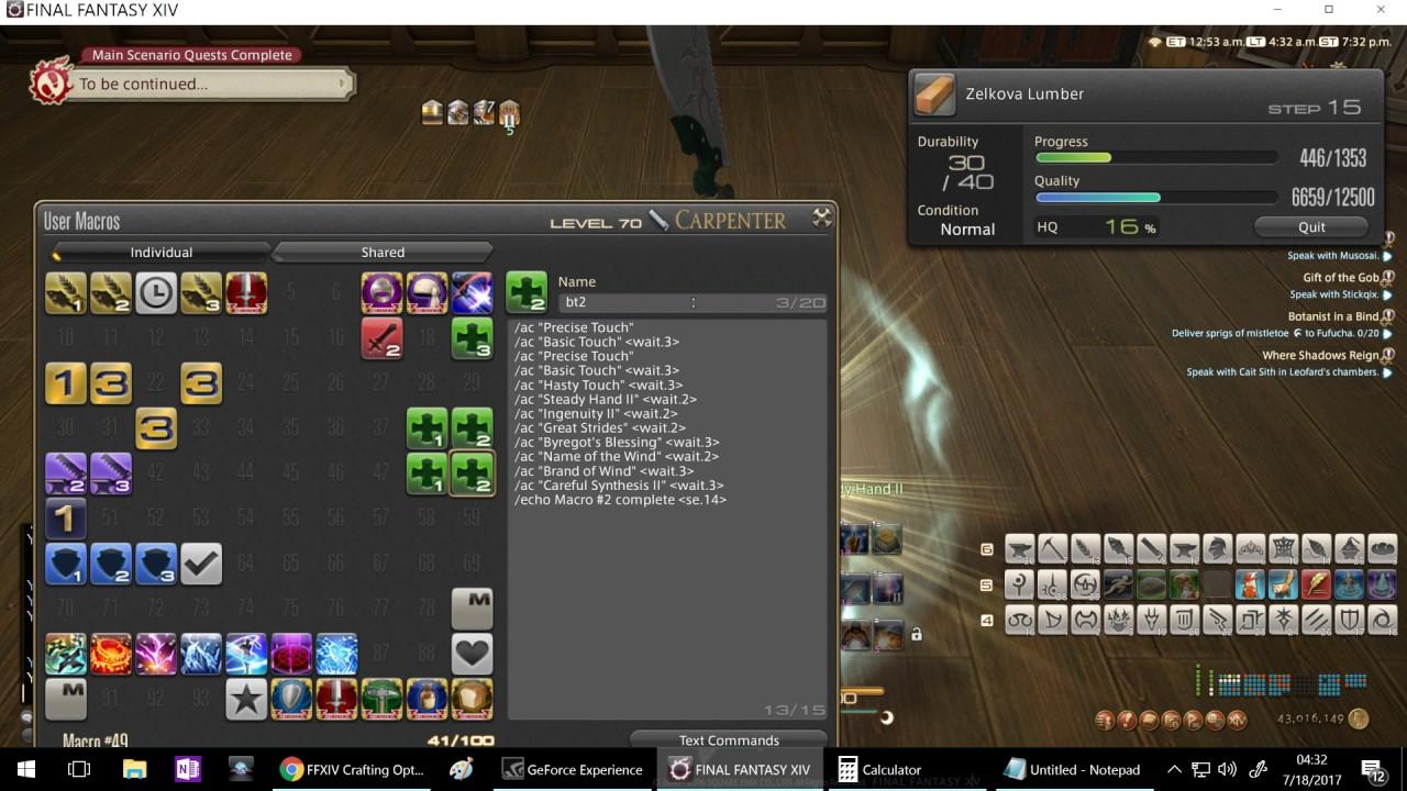 Final Fantasy XIV Teach Me How to Craft- lvl 60 starting stormblood  rotation (40/80 durability)