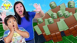 RYAN PLAYS TOWER DEFEND SIMULATOR IN ROBLOX with Mommy Let's Play