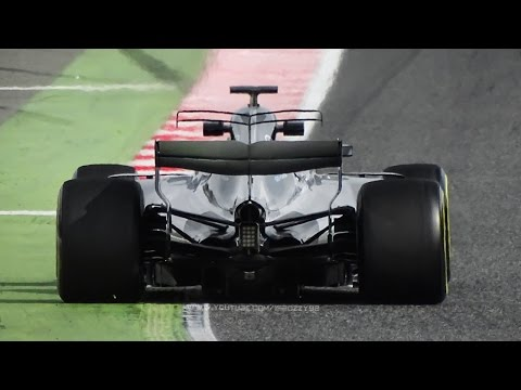 F1 2017: My Best of Pre-Season Tests in Spain - Turbo V6 Hybrid Sound, Accelerations, Sparks & More