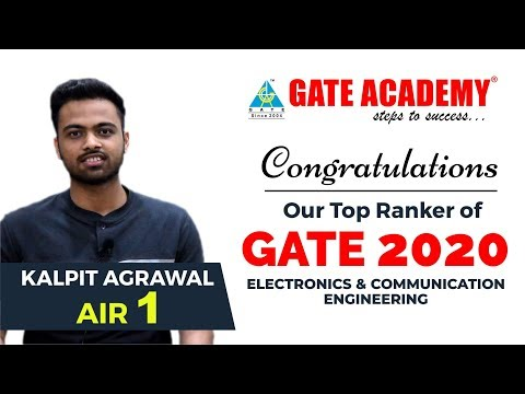 Congratulations Kalpit Agrawal For AIR 1 Branch - EC | 2 Year Classroom Student Of GATE ACADEMY