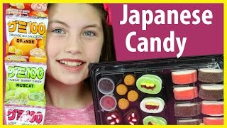 JAPANESE CANDY HAUL Sushi Marshmallow Gummy Treats Kids candy review taste test using Chopsticks