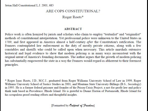 """Are Cops Constitutional?"" By Roger Roots, Part 1 of 2"