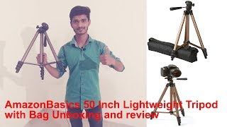 AmazonBasics 50 Inch Lightweight Tripod with Bag Unboxing and review