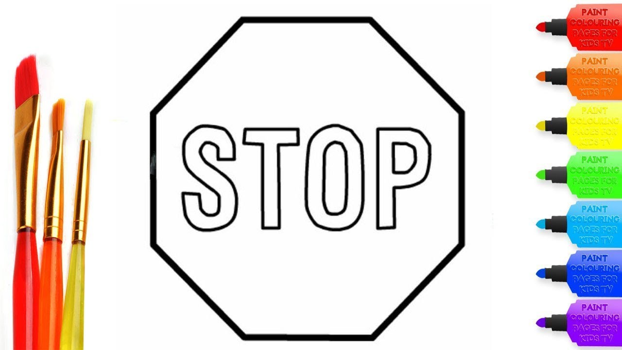 How to draw Stop sign coloring page for kids I learn coloring book ...