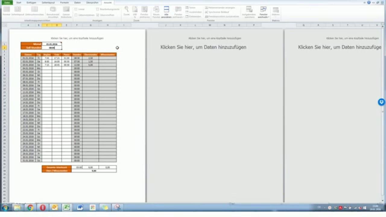 Arbeitszeitnachweis in Excel Anleitung [deutsch] [HD] - YouTube