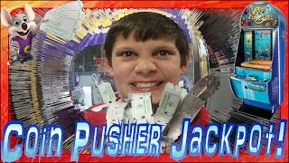 💲 Coin Pusher JACKPOT | Arcade Game Machine | WINNING Chuck E Cheese Tickets | Coins Pushers Wins 💲