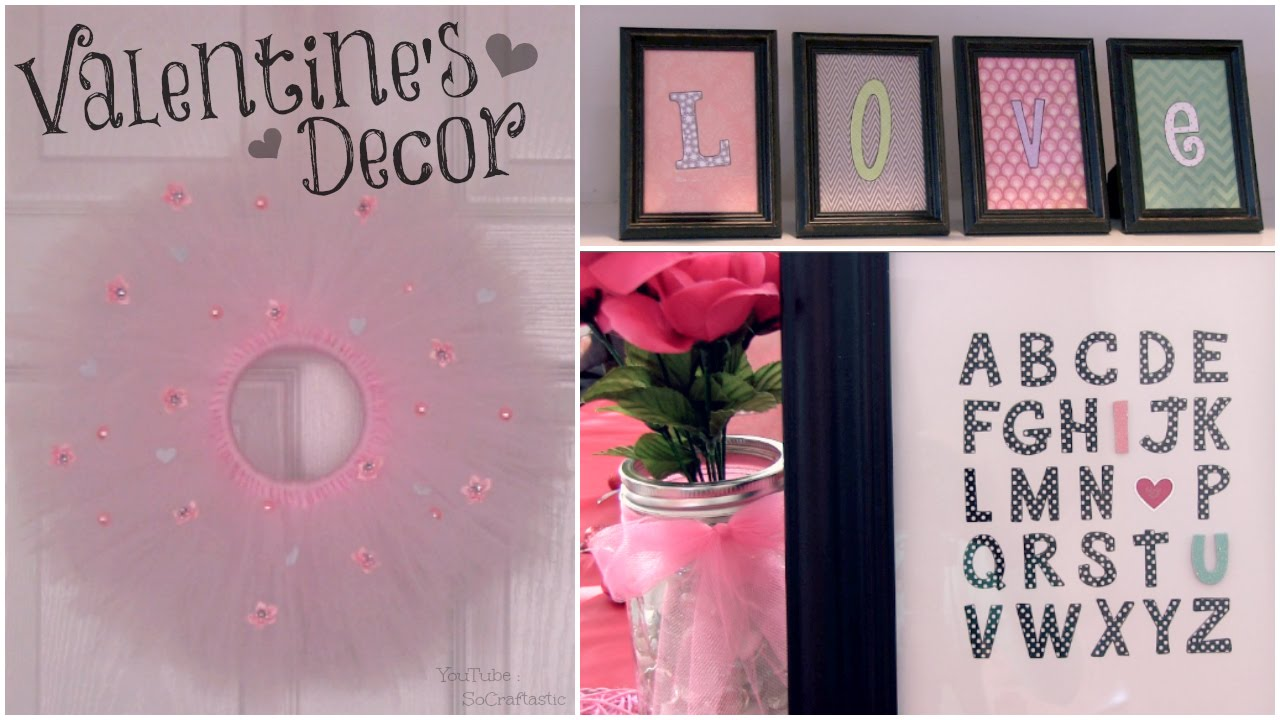 DIY Valentines Day Room Decor  Wall Art  Tulle Wreath