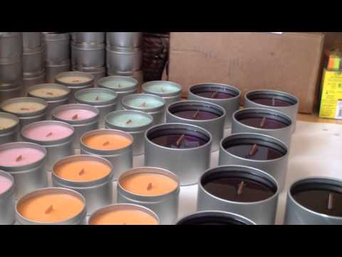 Making candles! Wooden Wick Soy Candles.