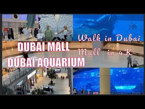 Walk in Dubai Mall in [4K-UHD] – Dubai Aquarium- Burj khalifa/Shops,Restaurants- دبي مول / اكواريوم