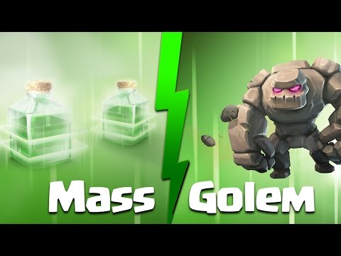 Clash Of Clans | Mass Golem Strategy For TH9: 5 Golems + Jump Spell