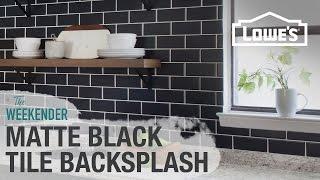 DIY Matte Black Tile Backsplash