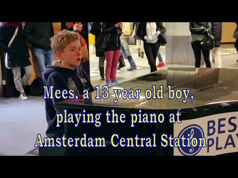 Mees, a 13 year old boy, plays piano at Amsterdam Central Station