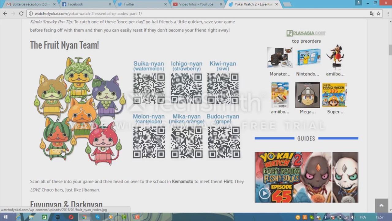 Plusieurs Qr Codes Pour Yo Kai Watch 2 Japanese Version