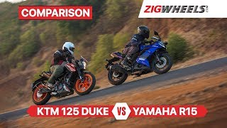 Yamaha YZF-R15 v3.0 vs KTM 125 Duke | Battle of Sporty Beginner Bikes | ZigWheels.com