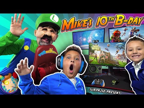 MIKE'S BIRTHDAY SURPRISE From MARIO BROS!  New Gaming Setup! (FUNnel Fam Luigi Vision)