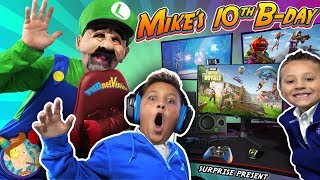 Mike's Birthday Surprise From Mario Bros!  New Gaming Setup!  Funnel Fam Luigi Vision