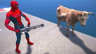 GTA 5 Funny Ragdolls SPIDERMAN Vs COW EPIC Euphoria Physics Fails Funny Moments