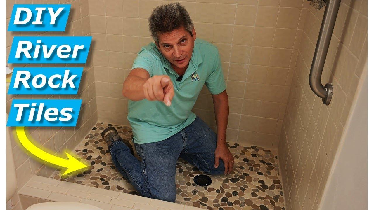 diy install river rock mosaic tile fix cracked shower floor tiles