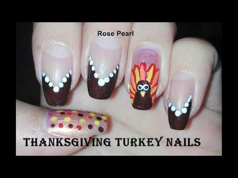 DIY EASY Thanksgiving Turkey Nails Tutorial: (No Tools) Nail Art Design   Rose Pearl
