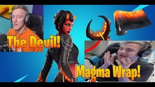 Streamers react to *Malice* Devil Skin! *Magma* Wrap! (Fortnite funny moments,best highlights)