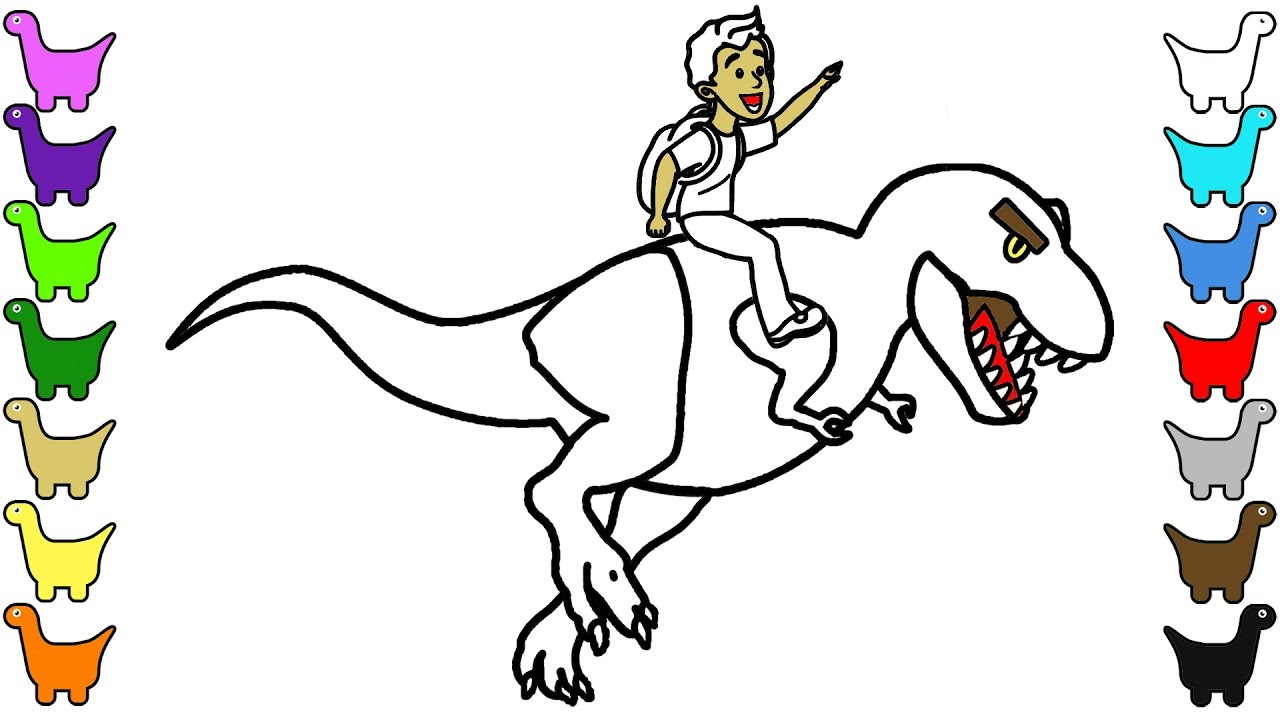 Dinosaur T-Rex Riding | Coloring Pages - YouTube