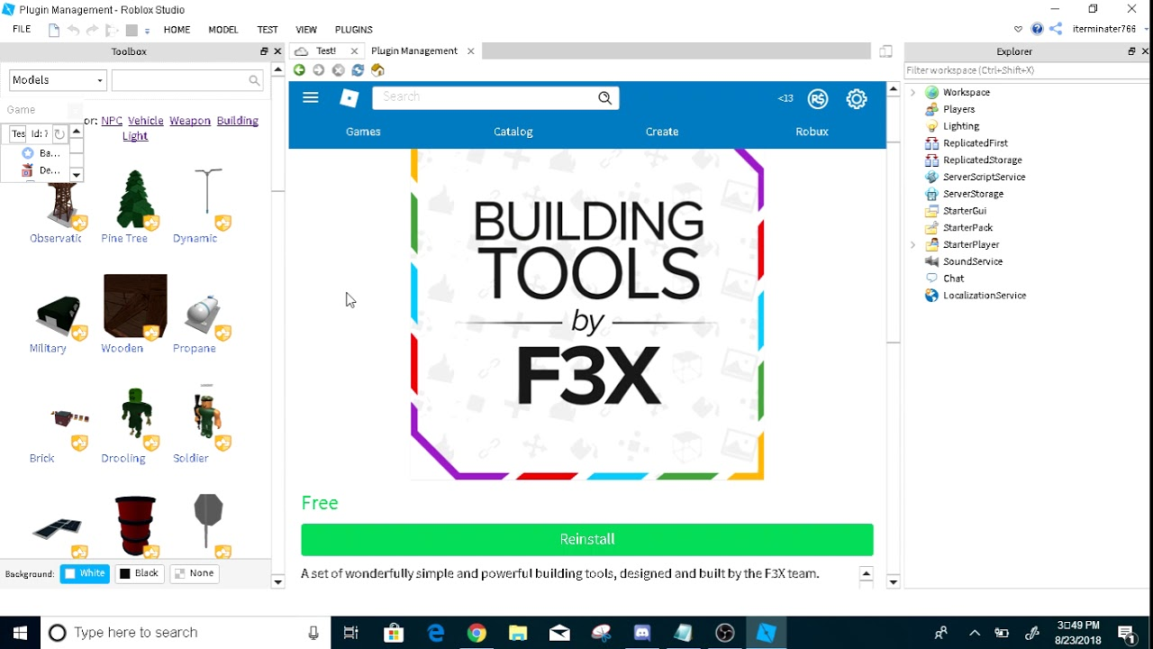 How To Get F3x Into Roblox Studio Youtube