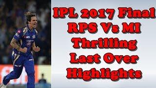 IPL 2017 Final RPS Vs MI Last Over Highlights  IPL 10 Final Mitchell Johnson Last Over Highlights