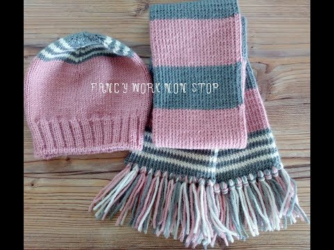 Шапка шарф для девочки спицами
