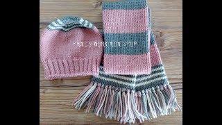 Шапка и шарф спицами для девочки.