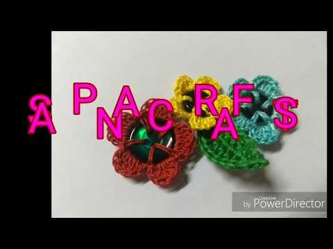 Basic Crochet Stitches.Leaf & button flower making.- Crochet Motif #1