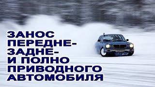 Занос и снос автомобиля. ESP. Полный, передний, задний привод