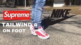SUPREME X NIKE AIR TAILWIND 4 RED AND