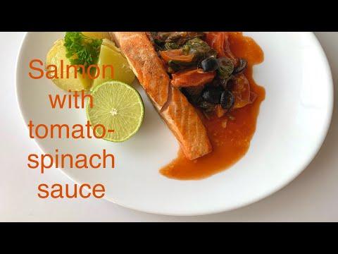 Salmon with tomato-spinach sauce  Лосось за 10 минут
