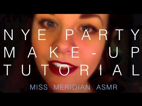 NYE party relaxing 'vintage glam' makeup tutorial | Whispered close-up, with lip-smacking. ASMR.