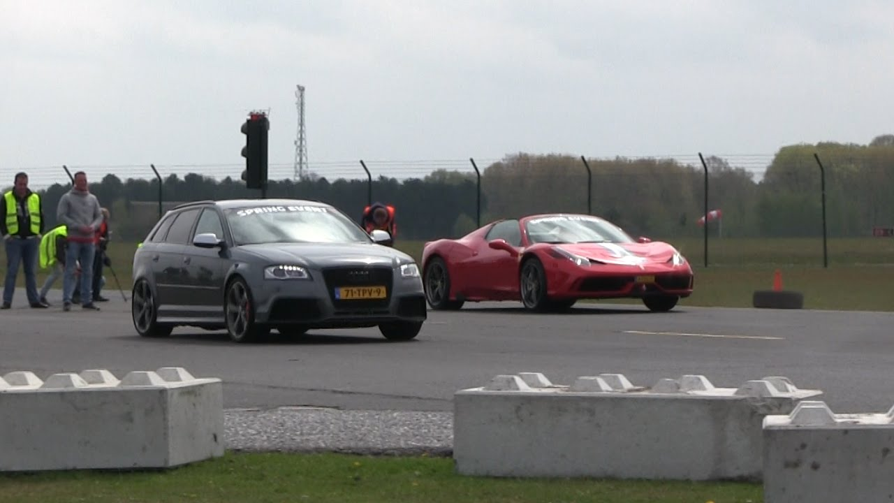 DRAGRACE | 530HP Audi RS3 vs Ferrari 458 Speciale Aperta vs ... on lamborghini vs audi r8, lamborghini vs dodge viper, lamborghini vs nissan gt-r, lamborghini vs nissan skyline, lamborghini vs mclaren f1, lamborghini vs laferrari, lamborghini vs ford focus, lamborghini vs bugatti veyron super sport, lamborghini vs toyota supra, lamborghini vs hyundai elantra, lamborghini vs corvette, lamborghini vs porsche 911, lamborghini vs nissan 300zx, lamborghini vs mclaren p1,