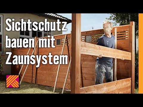 sichtschutz bauen mit zaunsystem hornbach meisterschmiede youtube