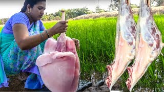 Village Lady Making Extremely Big Mutton Lungs Fry