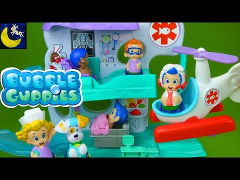 Bubble Guppies Check Up Center Hospital Playset Gil Rescue Helicopter Nonny Puppy Goby Deema Toys