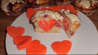 Valentinstagsmuffins mit Herz in der Mitte!