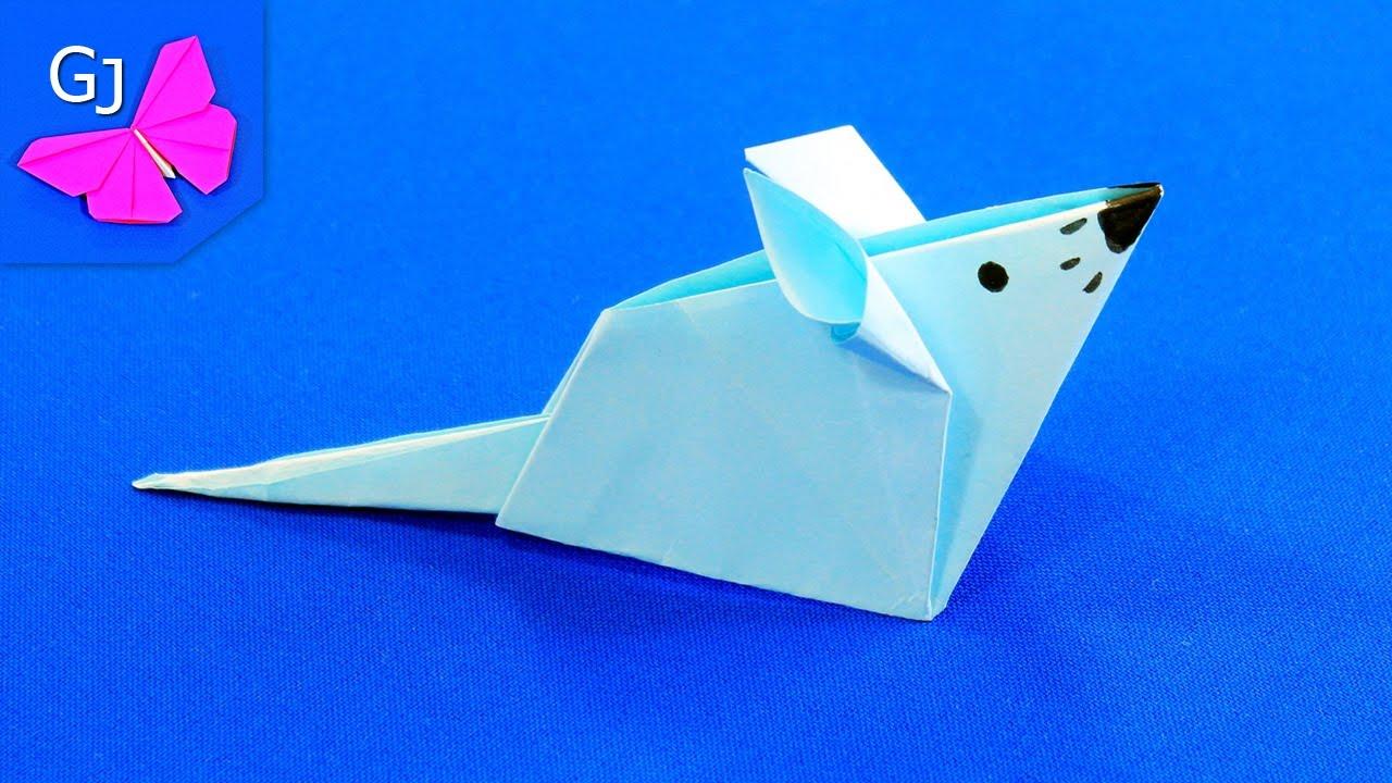 Оригами Мышка из бумаги - Символ Нового 2020 года
