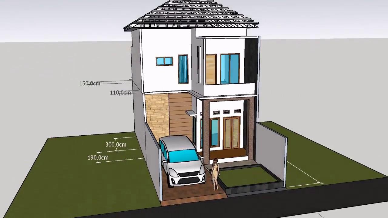 Bangunan Rumah 2 Lantai Dengan Luas 6 X 12 M Tampilan Luar Dalam
