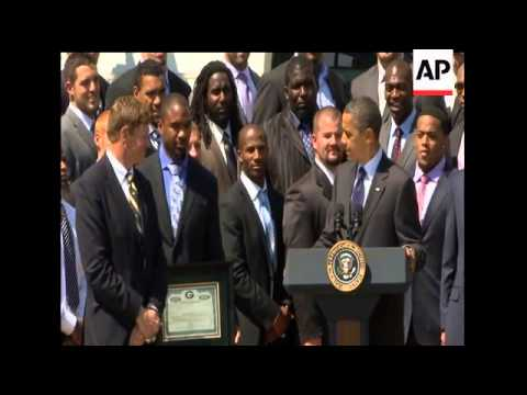 President Barack Obama welcomed the Super Bowl champion Green Bay Packers to the White House Friday.