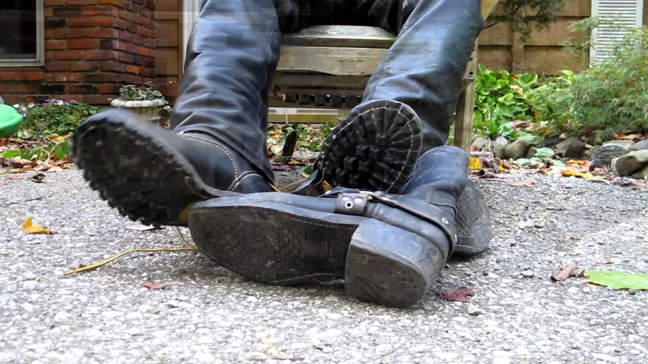 Biker Leather Gloves Boots White Socks Youtube