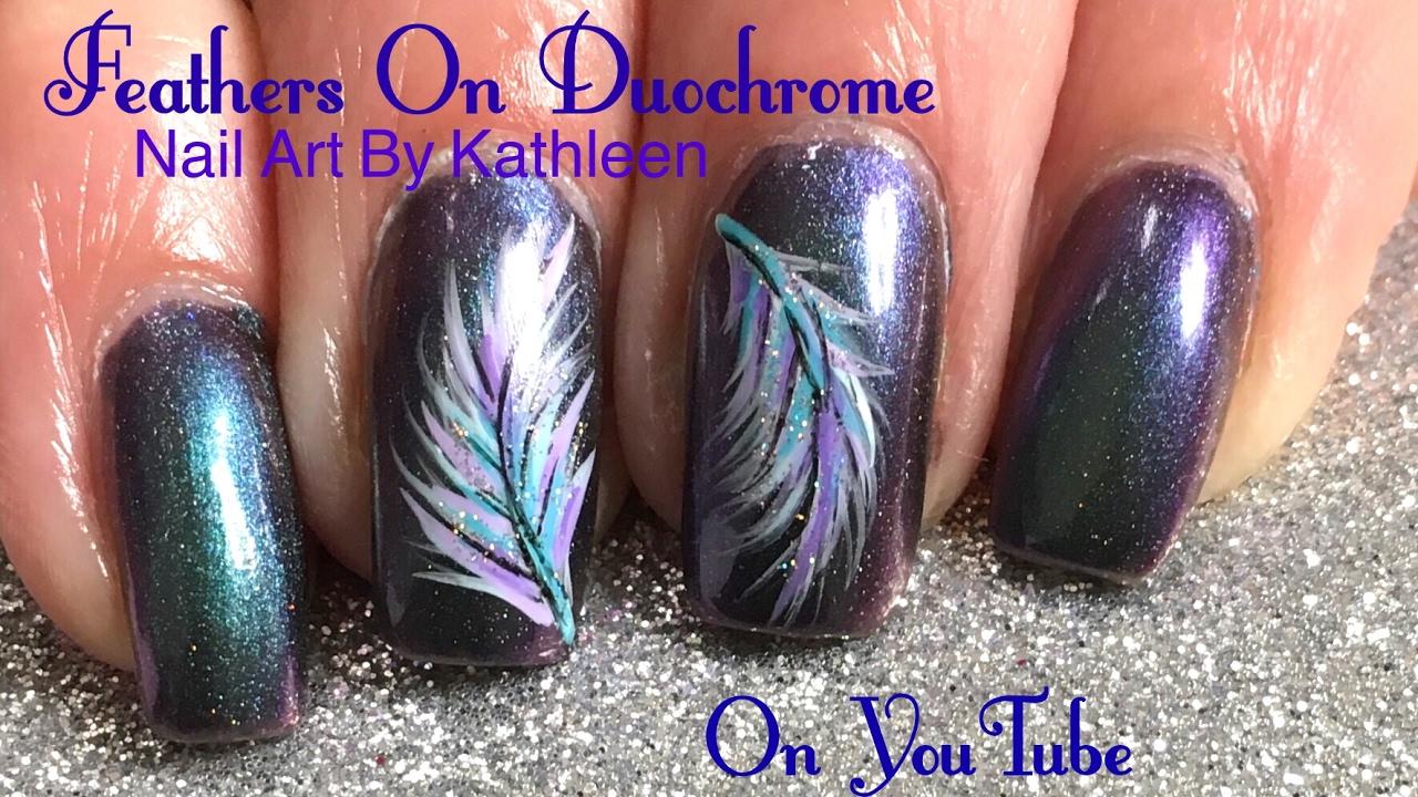 Diy Feather Nail Art On Duochrome Nail Polish Youtube