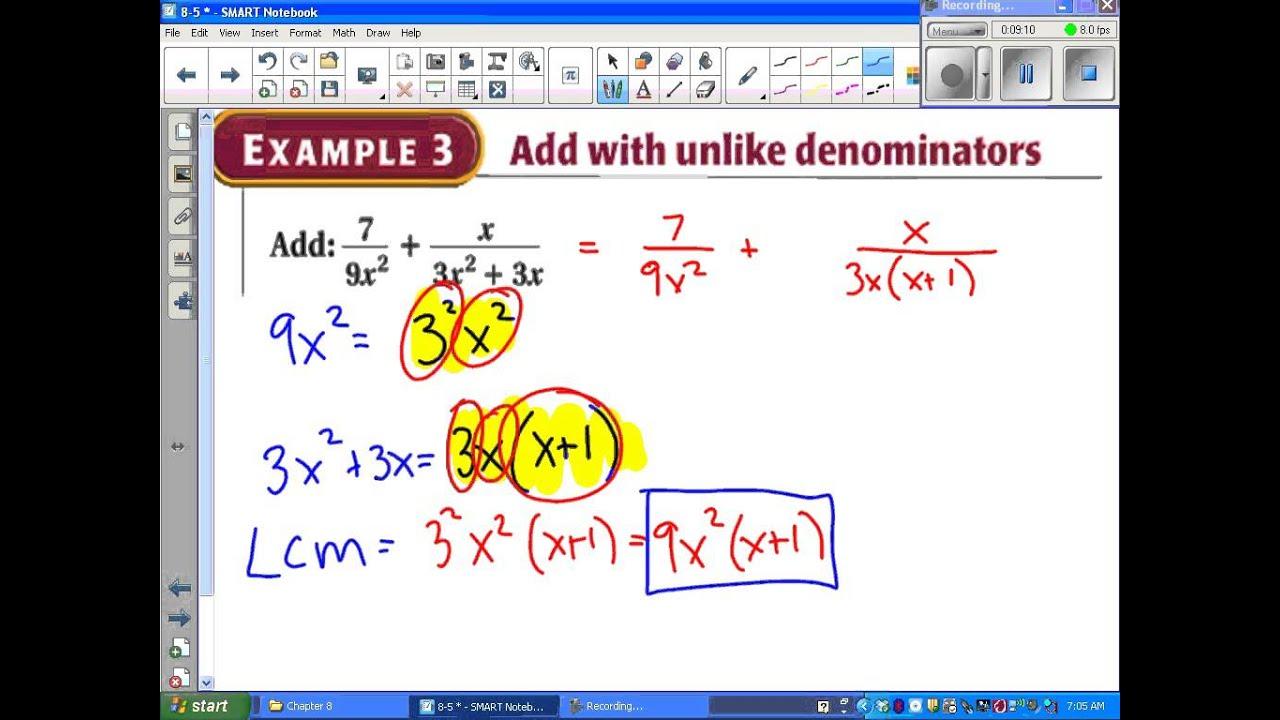 worksheet Algebra 2 Adding And Subtracting Rational Expressions Worksheet Answers algebra ii 8 5 add and subtract rational expressions youtube