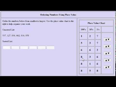 Ordering Numbers Using a Place Value Chart (Virtual Manipulative