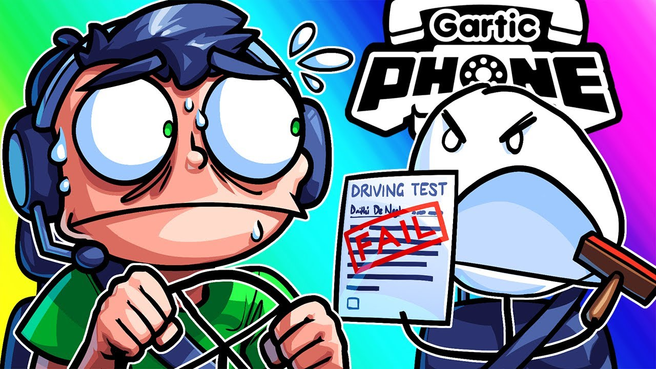 Gartic Phone Funny Moments - Nogla Failing his Driving Test and Panda Streaking at E3!